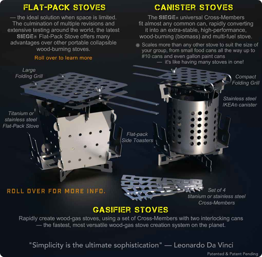 Siege Stove Flat-Pack and Canister Stoves